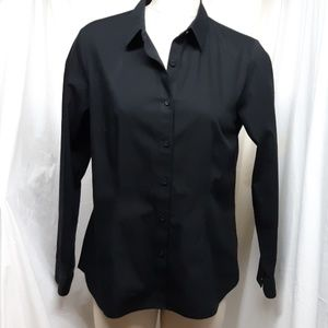 Coldwater Creek No-Iron Black Blouse (NWT)